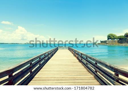 Wooden Pier in San Juan - stock photo