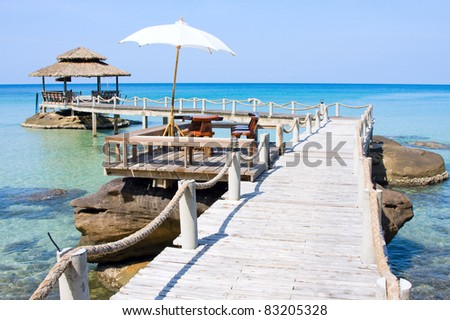 Wooden pier in tropical paradise , Thailand - stock photo