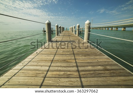 Wooden Pier, Key West, Florida - stock photo