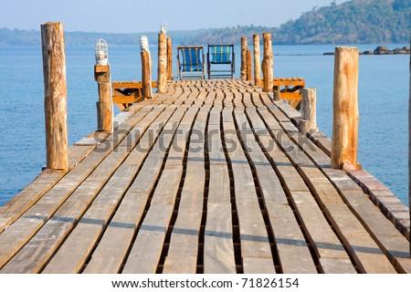 Wooden pier , Thailand - stock photo