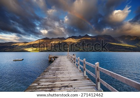 Wooden pier, Wakatipu Lake, Glenorchy, New Zealand  - stock photo