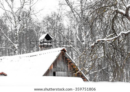 Wooden plank attic of village cottage roof among tree branches under the snow. - stock photo