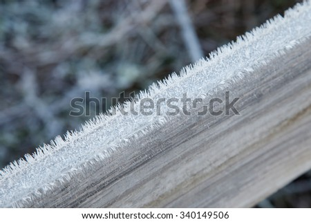 Wooden plank covered with frost closeup outdoors