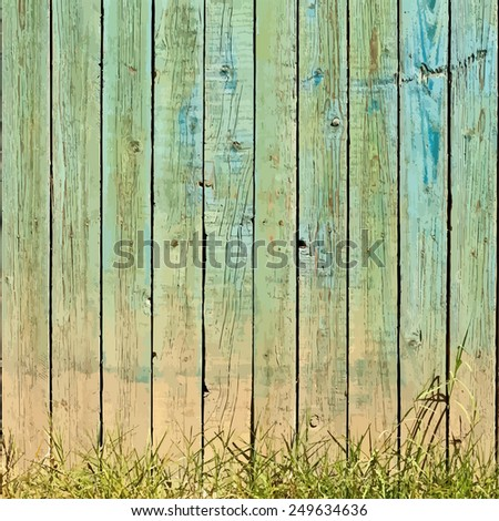 Wooden Planks And Grass Background. - stock photo