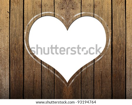 Wooden planks background with heart shape - stock photo