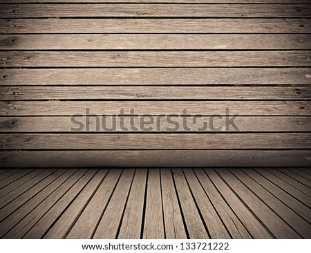 wooden planks interior background, wood floor and wall