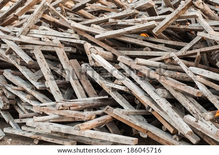 Wooden planks of a demolished house.