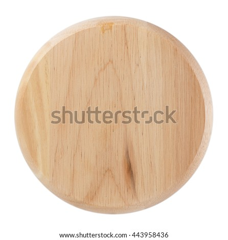 wooden plate isolated on white background.Top view