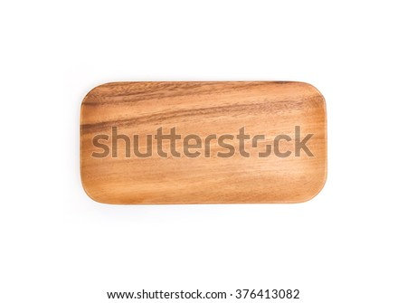 Wooden plate on white background.