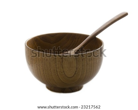 wooden plate with spoon on white background isolated