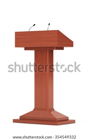 Wooden Podium Tribune Rostrum Stand with Microphones on a white background - stock photo