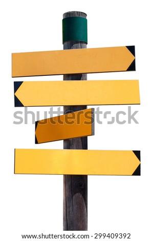 wooden pointer on white background - stock photo