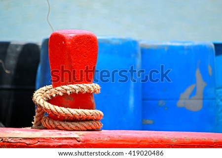 Wooden pole & wire rope of fishing boat