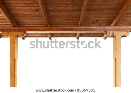 wooden porch roof view from inside isolated on white background - stock photo