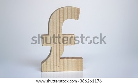 Wooden pound sterling symbol on a white background - stock photo