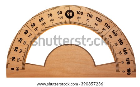 Wooden protractor isolated on white. Clipping path included. - stock photo