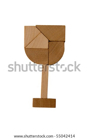 Wooden puzzle glass isolated on a white