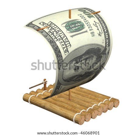 Wooden raft with a sail from a dollar