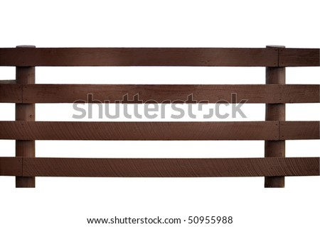 Wooden rail fence, isolated on white