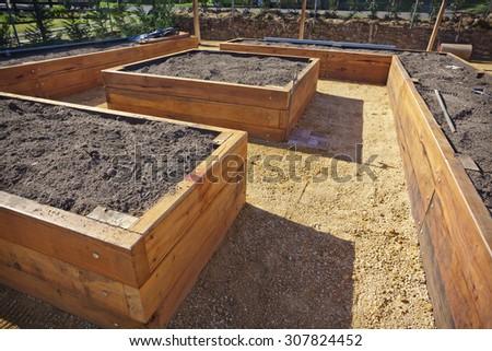 Wooden raised vegetable garden beds - stock photo