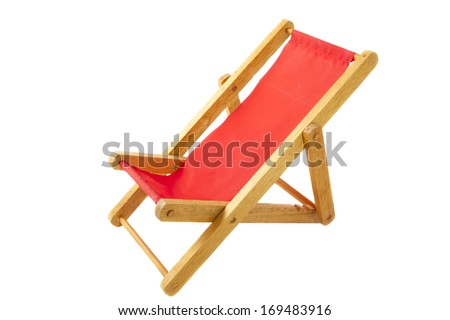 Wooden red beach chair isolated over white - stock photo