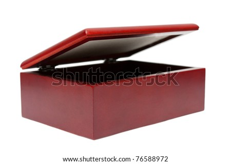 Wooden red casket isolated on white