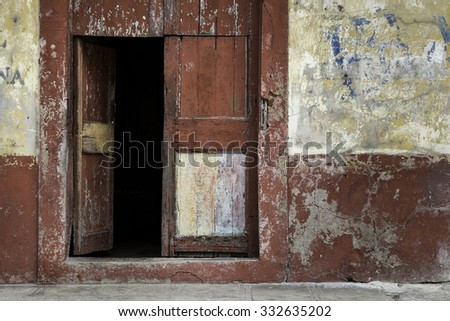 Wooden Red Door in rural area