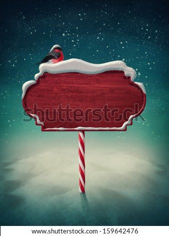 Wooden red sign and bird - stock photo