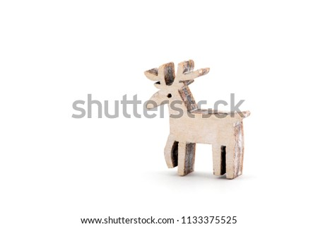 wooden reindeer christmas decoration on white background - Wooden Deer Christmas Decorations