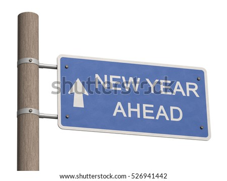 Wooden road signpost points to the New Year 2017. New Year 2017 ahead. Happy New Year 2017 greeting card. New Year 2017 design concept. 3d illustration