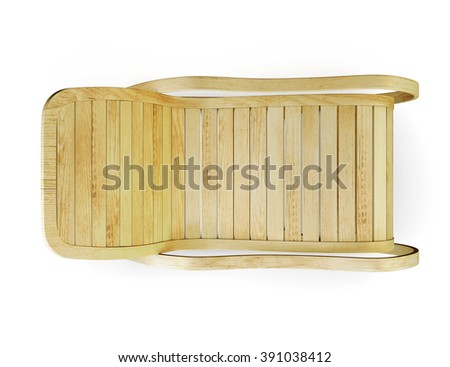 Wooden rocking chair isolated on the white background. Top view. 3d rendering.