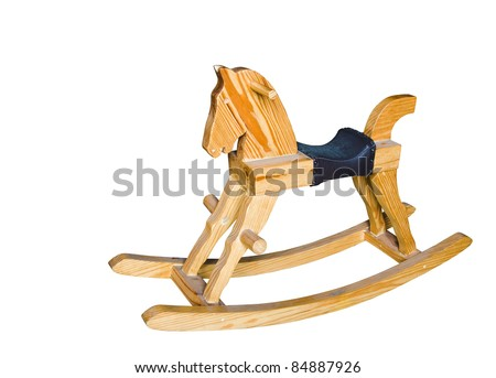 wooden rocking horse chair children isolated on white background - stock photo