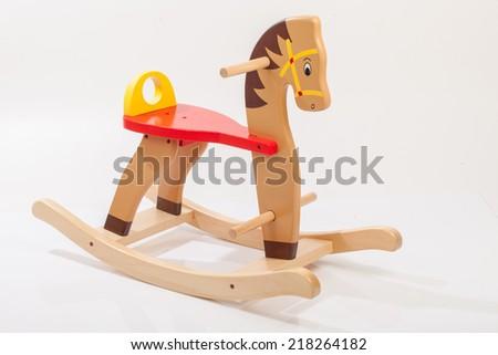 wooden rocking horse. Children toy - stock photo