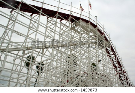 Wooden Rollercoaster, Santa Cruz, California - stock photo