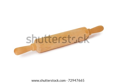 Wooden rolling-pin isolated on a white background - stock photo