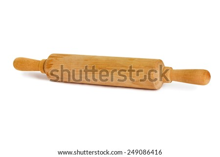 Wooden rolling pin isolated on a white background. Kitchen equipment for rolling dough. - stock photo