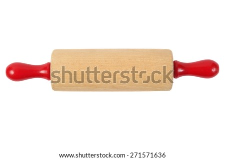 Wooden rolling pin isolated on white background - stock photo