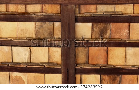 Wooden roof shingles - stock photo