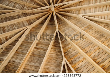 wooden roof structure - stock photo