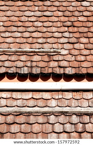 Wooden roof tile - stock photo