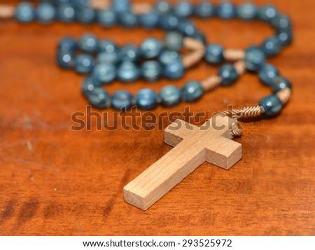 Wooden rosary - stock photo