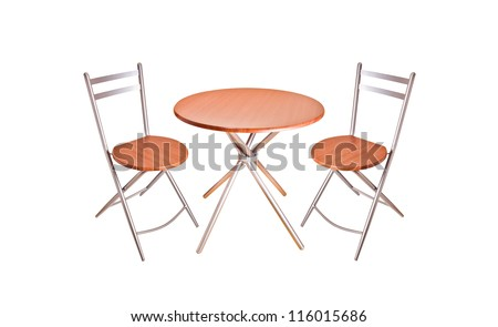 wooden round chair and table isolated on white background - stock photo