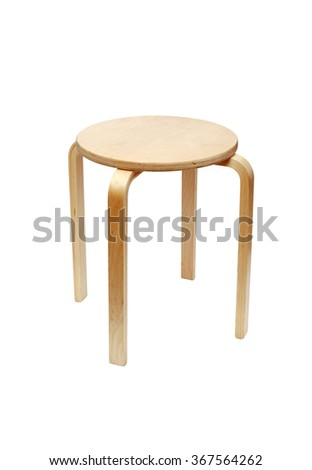 Wooden round stool isolated on white background with clipping path - stock photo