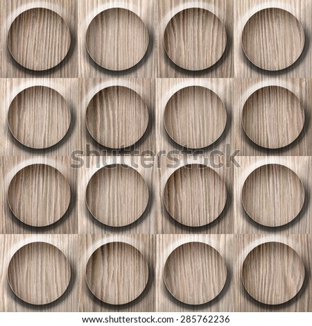 Wooden rounded abstract blocks stacked for seamless background - Blasted Oak Groove wood texture - stock photo