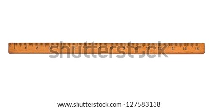 wooden ruler on a white background