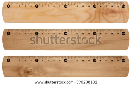 Wooden rulers, isolated on white background with clipping paths - stock photo