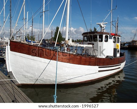 Wooden sail boat, view - stock photo
