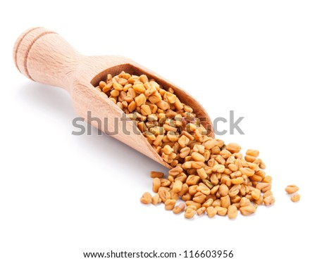 wooden scoop with fenugreek isolated on white background