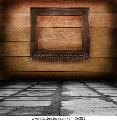 wooden scope on a wooden wall for your illustrations