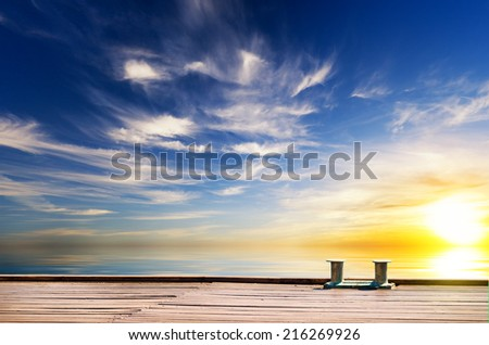 Wooden sea landing stage. Nature composition. - stock photo